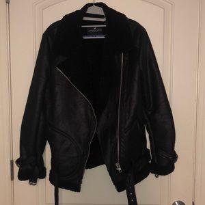 Black Fur Lined Moto Jacket